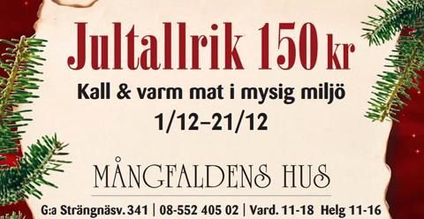 Jultallrik och Julmarknad Mångfaldens Hus i Turinge, Sörmland
