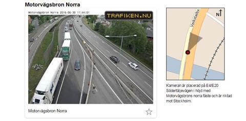 Södertäljebron på E4/E20 Trafikläge just nu